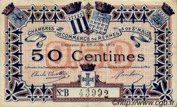 50 Centimes FRANCE régionalisme et divers Rennes et Saint-Malo 1915 JP.105.13 TTB à SUP