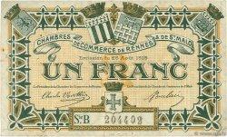 1 Franc FRANCE régionalisme et divers Rennes et Saint-Malo 1915 JP.105.16 TTB à SUP
