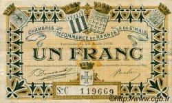 1 Franc FRANCE régionalisme et divers RENNES ET SAINT-MALO 1915 JP.105.18 TTB à SUP