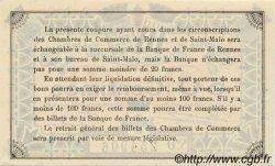 50 Centimes FRANCE régionalisme et divers Rennes et Saint-Malo 1921 JP.105.19 SPL à NEUF