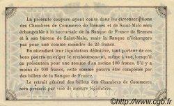 50 Centimes FRANCE régionalisme et divers Rennes et Saint-Malo 1921 JP.105.19 TTB à SUP