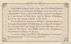 1 Franc FRANCE régionalisme et divers RENNES ET SAINT-MALO 1921 JP.105.20 TTB à SUP