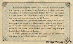 1 Franc FRANCE régionalisme et divers RENNES ET SAINT-MALO 1922 JP.105.22 TTB à SUP