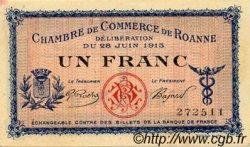 1 Franc FRANCE régionalisme et divers Roanne 1915 JP.106.02 TTB à SUP