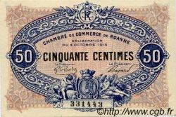 50 Centimes FRANCE régionalisme et divers Roanne 1915 JP.106.05 SPL à NEUF