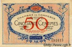 50 Centimes FRANCE régionalisme et divers Roanne 1917 JP.106.09 TTB à SUP