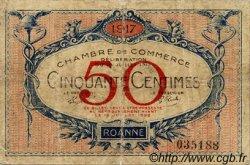 50 Centimes FRANCE régionalisme et divers Roanne 1917 JP.106.09 TB