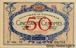 50 Centimes FRANCE régionalisme et divers Roanne 1917 JP.106.15 TTB à SUP