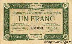 1 Franc FRANCE régionalisme et divers RODEZ ET MILLAU 1915 JP.108.05 TTB à SUP