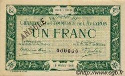 1 Franc FRANCE régionalisme et divers Rodez et Millau 1915 JP.108.07 SPL à NEUF