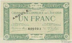 1 Franc FRANCE régionalisme et divers RODEZ ET MILLAU 1915 JP.108.10 SPL à NEUF