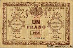 1 Franc FRANCE régionalisme et divers ROUEN 1916 JP.110.21 TB