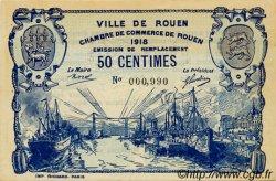 50 Centimes FRANCE régionalisme et divers Rouen 1918 JP.110.37 SPL à NEUF