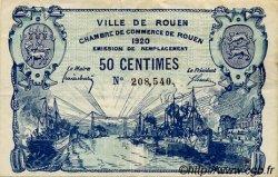 50 Centimes FRANCE régionalisme et divers ROUEN 1920 JP.110.46 TTB à SUP