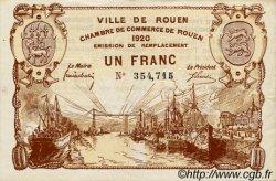 1 Franc FRANCE régionalisme et divers ROUEN 1920 JP.110.50 TTB à SUP