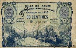 50 Centimes FRANCE régionalisme et divers ROUEN 1920 JP.110.61 TB