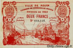 2 Francs FRANCE régionalisme et divers ROUEN 1922 JP.110.66 SPL à NEUF