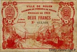 2 Francs FRANCE régionalisme et divers ROUEN 1922 JP.110.66 TB