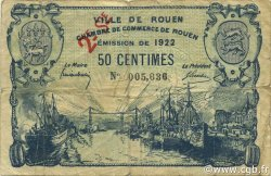 50 Centimes FRANCE régionalisme et divers ROUEN 1922 JP.110.67 TB