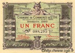 50 Centimes FRANCE régionalisme et divers Saint-Die 1920 JP.112.17 TTB à SUP