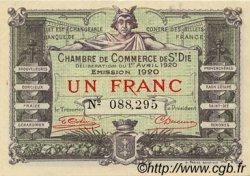 1 Franc FRANCE régionalisme et divers Saint-Die 1920 JP.112.19 TTB à SUP