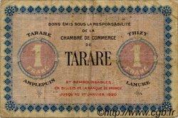 1 Franc FRANCE régionalisme et divers TARARE 1920 JP.119.01 TB