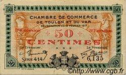 50 Centimes FRANCE régionalisme et divers TOULON 1917 JP.121.10 TTB à SUP