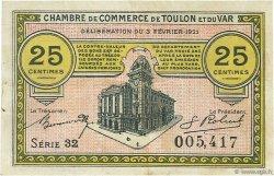 25 Centimes FRANCE régionalisme et divers Toulon 1921 JP.121.32 TTB à SUP