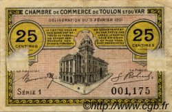 25 Centimes FRANCE régionalisme et divers TOULON 1921 JP.121.32 TB