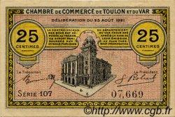 25 Centimes FRANCE régionalisme et divers Toulon 1921 JP.121.33 TTB à SUP