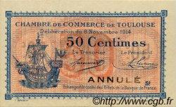 50 Centimes FRANCE régionalisme et divers TOULOUSE 1914 JP.122.09 SPL à NEUF
