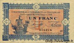 1 Franc FRANCE régionalisme et divers Toulouse 1914 JP.122.20 TTB à SUP
