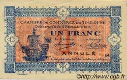 1 Franc FRANCE régionalisme et divers TOULOUSE 1914 JP.122.21 TTB à SUP