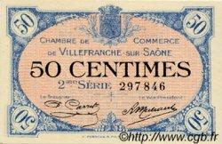 50 Centimes FRANCE régionalisme et divers Villefranche-Sur-Saône 1918 JP.129.07 SPL à NEUF