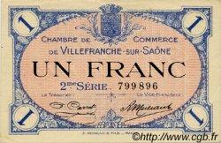 1 Franc FRANCE régionalisme et divers Villefranche-Sur-Saône 1918 JP.129.09 TTB à SUP