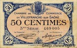 50 Centimes FRANCE régionalisme et divers VILLEFRANCHE-SUR-SAÔNE 1920 JP.129.11 TTB à SUP