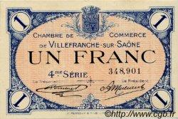 1 Franc FRANCE régionalisme et divers VILLEFRANCHE-SUR-SAÔNE 1921 JP.129.17 TTB à SUP