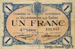 1 Franc FRANCE régionalisme et divers VILLEFRANCHE-SUR-SAÔNE 1921 JP.129.17 TB
