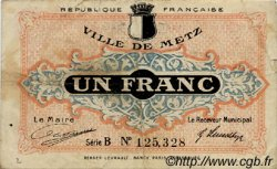 1 Franc FRANCE régionalisme et divers Metz 1918 JP.131.04 TB