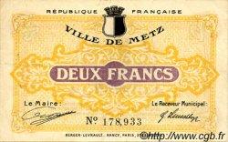 2 Francs FRANCE régionalisme et divers Metz 1918 JP.131.06 TTB à SUP