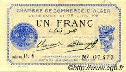 1 Franc FRANCE régionalisme et divers ALGER 1919 JP.137.12 SPL à NEUF