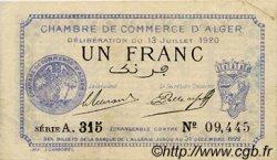 1 Franc FRANCE régionalisme et divers ALGER 1920 JP.137.15 TTB à SUP