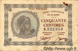 50 Centimes FRANCE régionalisme et divers Mines Domaniales De La Sarre 1918 JP.147.01 TB