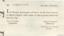 10 Livres Tournois typographié FRANCE  1720 Dor.21 SUP