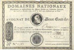200 Livres sans coupons FRANCE  1790 Ass.01a TTB