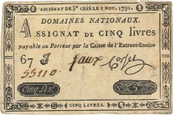 5 Livres FRANCE  1791 Ass.20b TTB