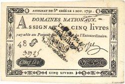 5 Livres FRANCE  1791 Ass.20b NEUF