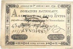 5 Livres FRANCE  1791 Ass.20b SUP+