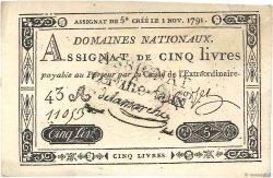 5 Livres FRANCE  1791 Ass.20b SPL
