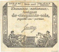 50 Sols variété FRANCE  1793 Ass.42d TTB+